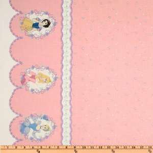 44 Wide Disney Princess Single Border Pink Fabric By The