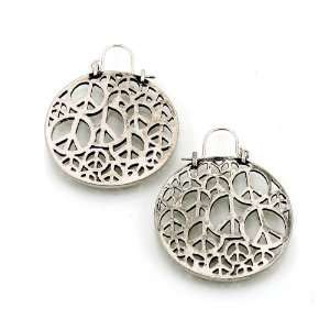 Fashion Jewelry Desinger Inspired Silver Oxidized Color Peace Earrings
