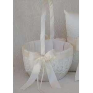 Beverly Clark White Lace Flower Girl Basket with Satin Tropic Aqua