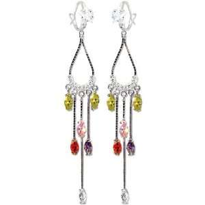 White Gold, Colorful Drop Dangling Chandelier Earring Lab Created Gems