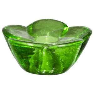 Mini Chime Candle Holder, Green Glass Flower, (CNDL231