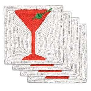 St. Nicks Martini Beaded Wine Glass Coasters   Set of 4