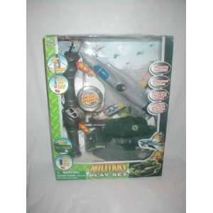 Military Play Set with Remote Control, Army Tank, and Fighter Jet