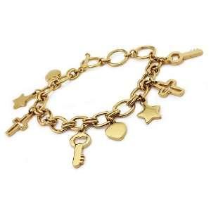 Gold Plated Stainless Steel Multiple Charm Bracelet 7.5