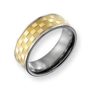 Titanium 8mm Gold plated Satin and Polished Checkered Band Ring   Size