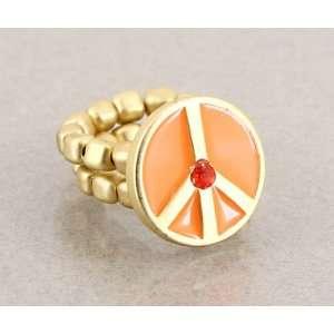 Desinger Inspired Gold Peace Symbol Ring Coral Color