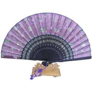 Silver J Hand fan, dark purple bamboo and silk with fan case and