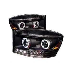 06 08 Dodge Ram Halo LED Projector Head Lights   Black Automotive