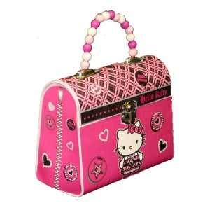 Hello Kitty Tin Handbag w/Beaded Handle   Pink Office