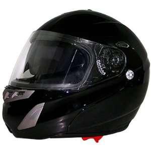 Gloss Black Dual Visor Full Face DOT Modular Motorcycle Helmet   XS