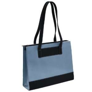 Leather & Twill Ladies Laptop Computer Tote Bag   Blue Electronics