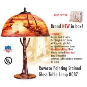 8087 Reverse Painting Stained Glass Table Lamp Home Improvement
