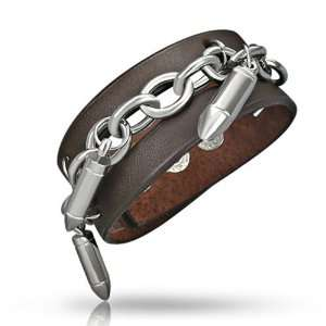 Stainless Steel Chain Bullets Brown Leather Wrap Bracelet: Jewelry