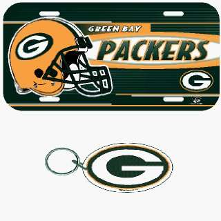 Green Bay Packers License Plate & Key Ring Auto Set