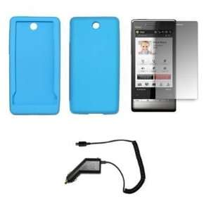 Light Blue Silicone Gel Skin Cover Case + LCD Screen