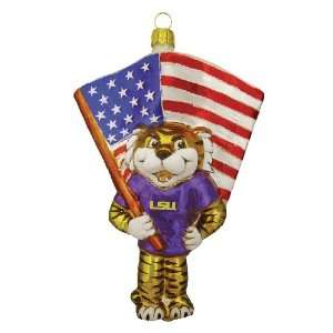 LSU Tigers Mascot Figural Glass Ornament: Sports