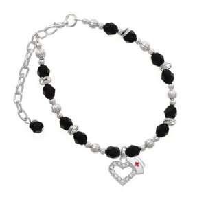 Crystal Heart with Nurse Hat Black Czech Glass Beaded Charm B