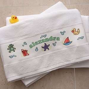 Personalized Kids Custom Bath Towel   Girl Time Baby