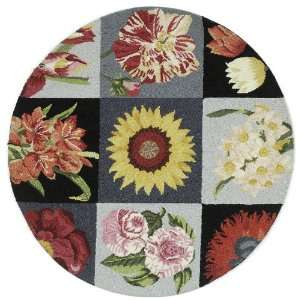 Feet Round Hand hooked Wool Round Area Rug, Multicolor