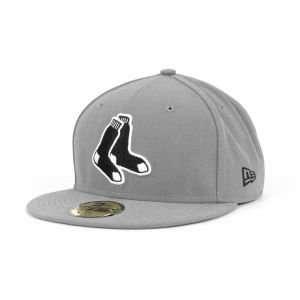 Boston Red Sox New Era 59Fifty MLB Gray BW Cap Hat Sports