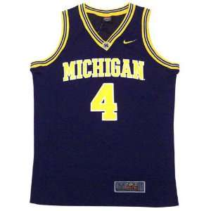 Nike Michigan Wolverines #4 Navy Replica Basketball Jersey