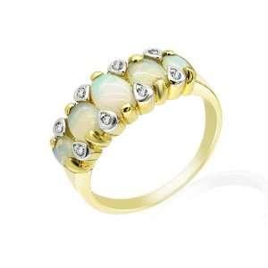 9ct Yellow Gold Opal & Diamond Ring Size 8 Jewelry