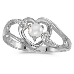 10k White Gold June Birthstone Pearl And Diamond Heart Ring Jewelry