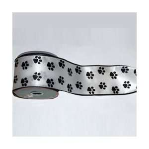 New   Pack of 6 Dog Paw Print Double Wire Craft Ribbon 2.5 x 60