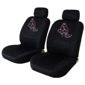 Pink Butterfly Low Back Seat Covers with Gem Crystals