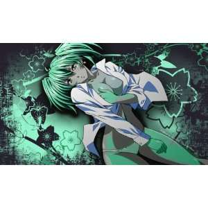 Sexy Anime Girl in White Shirt on Green Background Custom Playmat