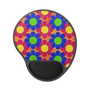 Retro Flower Power   Bright Colors Gel Mousepad Office