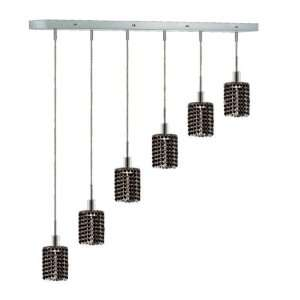 RC Mini 8 Inch High 6 Light Chandelier, Chrome Finish with Jet (Black