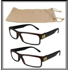 Reading Glasses~2 Brown Plastic Frame~Logo~Case+1.25