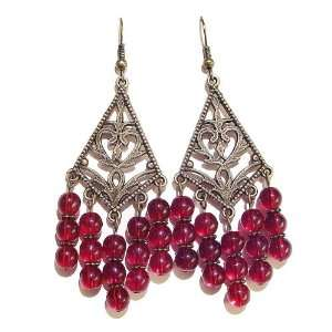 Cat Jewellery Store Brass Chandelier Earrings w/ Czech Beads   Red