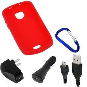 GTMax Red Soft Skin Rubber Silicone Case + USB Car Charger