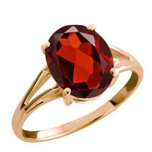 2.85 Ct Red Oval Garnet and 14k Rose Gold Ring Jewelry