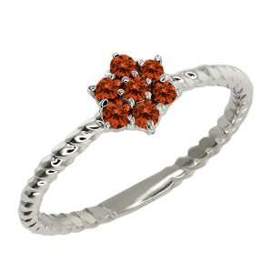 Round Cognac Red Diamond Sterling Silver Ring Jewelry