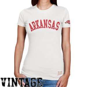 Original Retro Brand Arkansas Razorbacks Ladies Cream