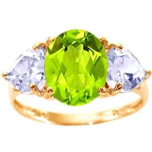 14K Yellow Gold Large Oval and Heart Gemstone Ring Multi Peridot White