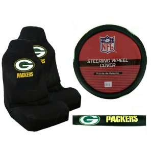 Seat Covers and Comfort Grip Steering Wheel Cover   Green Bay Packers