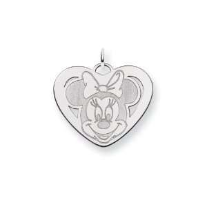 Sterling Silver 1 Inch Disney Minnie Mouse Heart Charm Jewelry