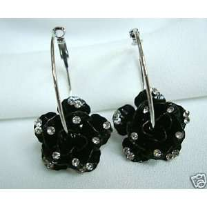 BRAND NEW A pair of black Flower Crystal Hoop Dangle Earrings