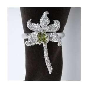 Objet Platinum Orchid Napkin Rings, White Swarovski Crystals Set/4