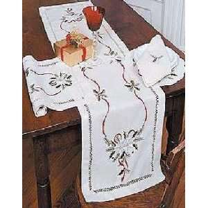 Christmas Embroidered Table Runner 16 x 36 Cream