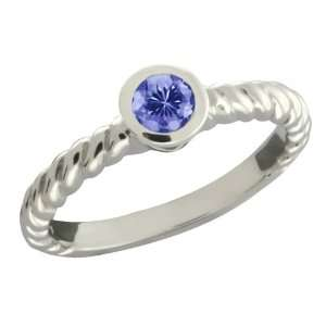 0.30 Ct Round Blue Tanzanite 18k White Gold Ring Jewelry