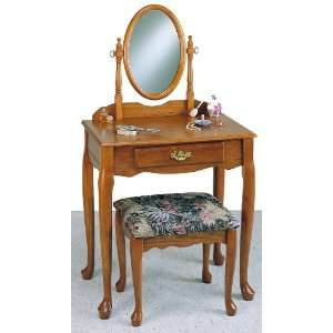 Powell Nostalgic Oak Vanity with Mirror and Bench: Home & Kitchen