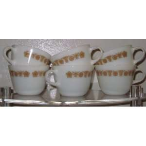 Set of 6 Vintage Pyrex Golden Butterfly Cup / Mug 2 3/4