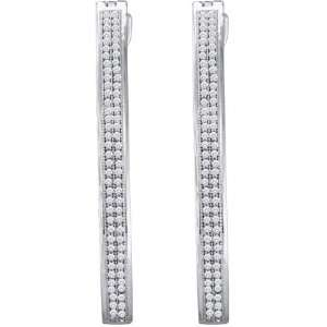 10 Karat White Gold Diamond Micro Pave Hoop Earrings With