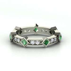 Princess in the Round Ring, 14K White Gold Ring with Emerald & Diamond