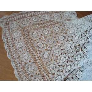 Vintage Hand crochet blooming flowers table cloth 52x52